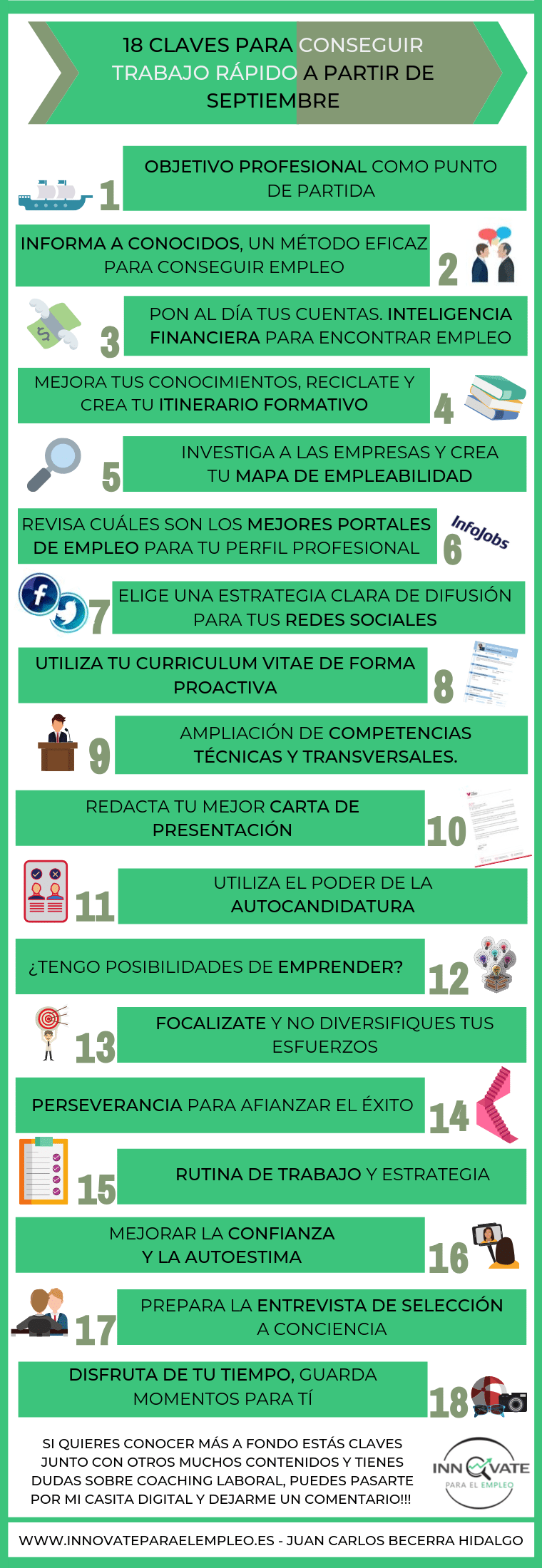 Infografía 18 claves para conseguir trabajo rápido